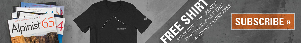 Subscribe to Alpinist for 2 years and get this t-shirt FREE!