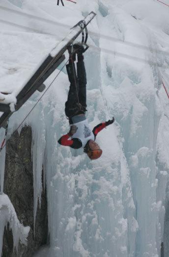 Ukrainian Evgeny Kryvosheytsev celebrates his victory in the 2007 Ouray Ice