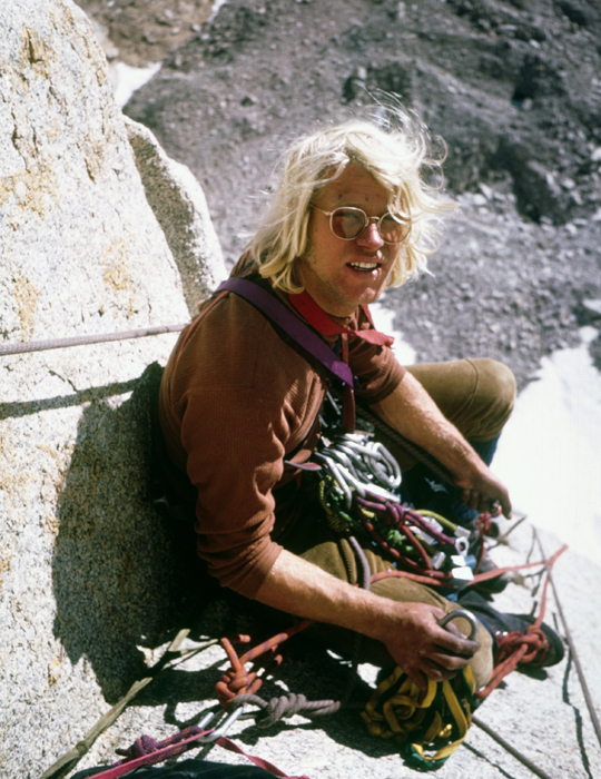 Lowe during a September 1973 trip to the High Sierra where he and John Weiland climbed the Northeast Corner (V 5.10-) of Keeler Needle . During the ascent they carried 25 nuts and 25 pins. Lowe wrote in the 1975 American Alpine Journal, We could have used more nuts. [Photo] Jeff Lowe collection/jeffloweclimber.com