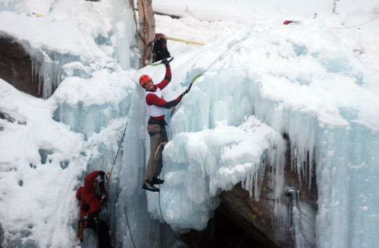 Josh Wharton celebrates his competition win at the 2010 Ouray Ice Festival.