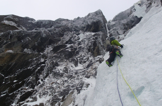 Ryan Johnson on Tide Line (WI5, 420m), one of two new ice routes that Johnson and his partners established in Southeast Alaska in 2012. [Photo] Jason Nelson