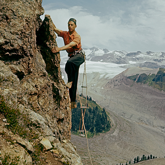 Beckey climbing in British Columbia, ca. 1958. [Photo] Ed Cooper