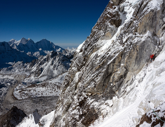 620c6129b2 Jason Kruk traversing to gain a rock rib at around 5500 meters during an  attempt of the southwest ridge of Nuptse (7861m)