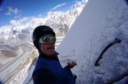 Kyle Dempster soloed up to 6000 meters on Vigne peak to gain a better look around at the huge peaks surrounding him on the Baltoro Glacier in 2014. He'd traveled there to attempt Gasherbrum IV's Shining Wall with Urban Novak, but they called off their expedition after learning that some Slovenian friends of Novak's were missing, and Novak felt the need to return home to be with the surviving friends and family. Dempster commended Novak's decision, recalling the loss of his own cousin in a rappelling accident on Baffin Island in 2005. [Photo] Kyle Dempster