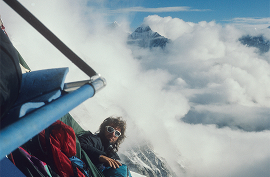 From Conrad Anker's The City and The Blade in Alpinist 38. Mugs Stump on the Spanish Pillar of Meru North (6450m) in 1988. [Photo] Steve Quinlan