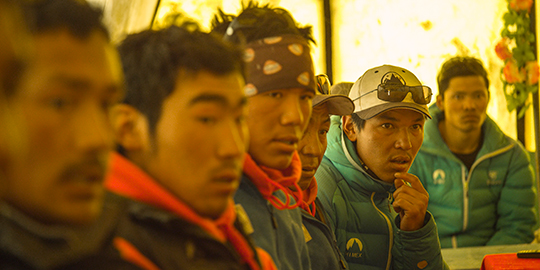 Sherpa and Nepali climbing staff