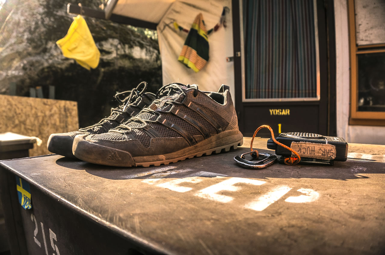 ​The Adidas Terrex Solo approach shoes after a season in Yosemite. [Photo] Josh Huckaby