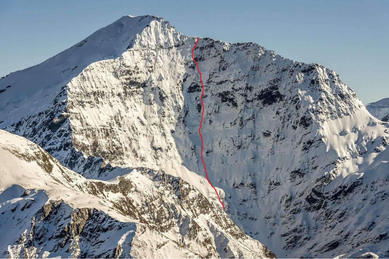 The East Face with the line of Ben Dare's route (M5 A1 WI5, 700m) marked. [Photo] Danilo Hegg