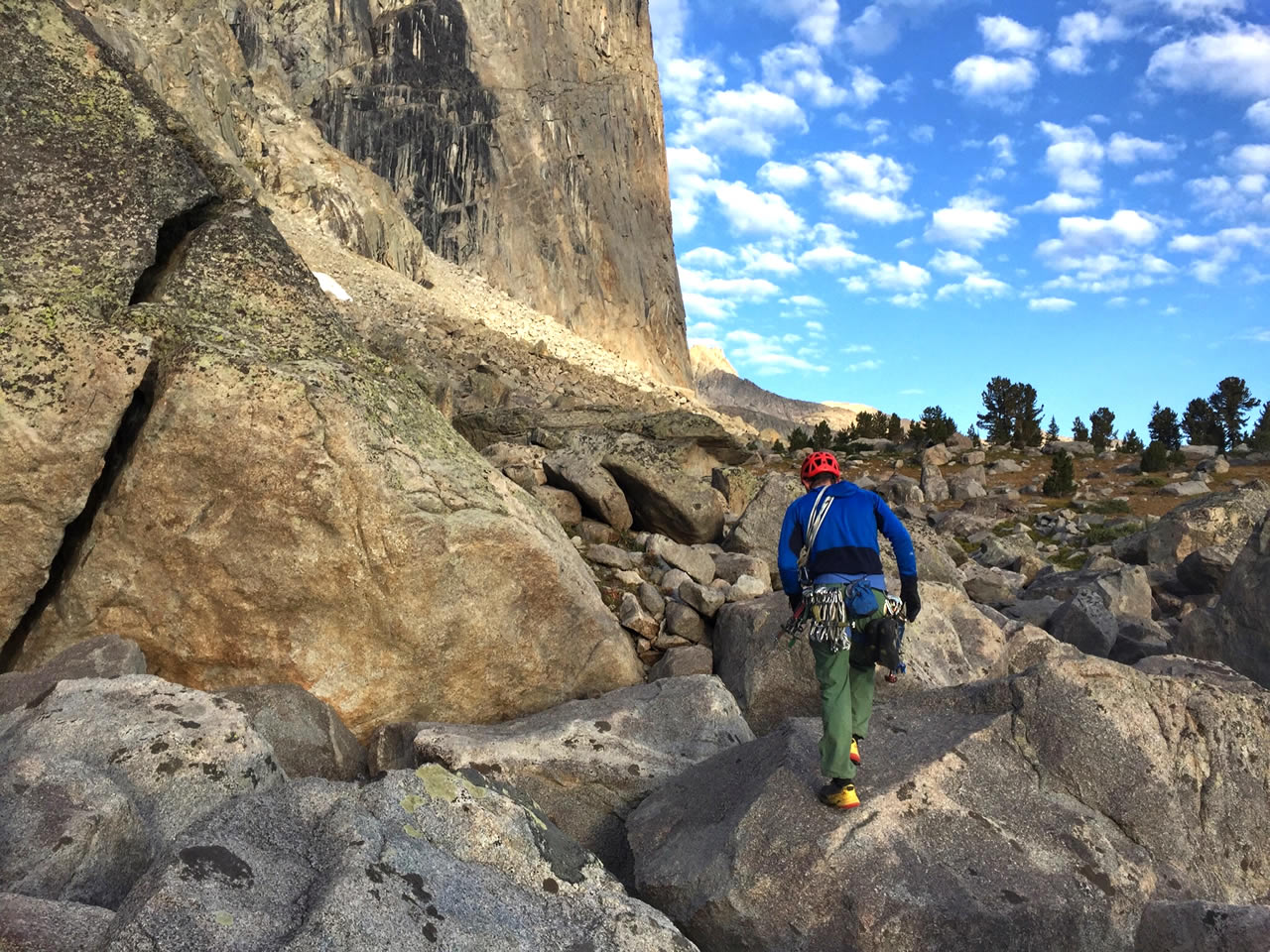 Tommy Caldwell heads to the start of the route. [Photo] Adam Stack