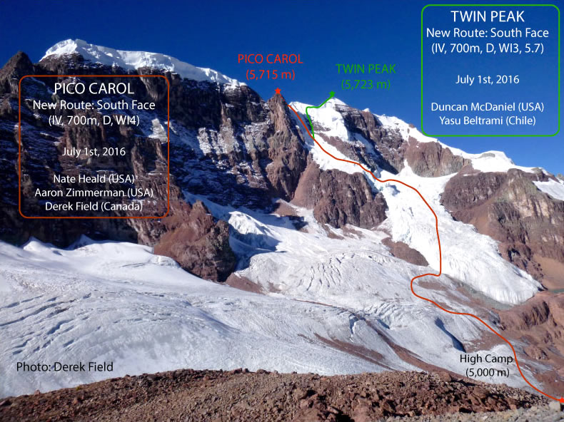 Heald, Zimmerman and Field established a new route on Pico Carol (5715m). On the same day, McDaniel and Beltrami climbed a new line on Twin Peak (5723m). [Photo] Duncan Field