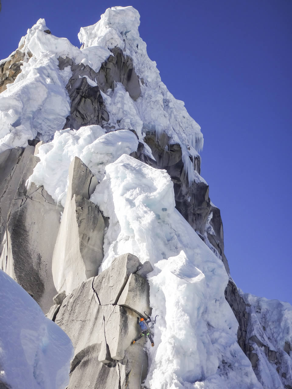 Rose Pearson part-way up the West Ridge on the second attempt. [Photo] Alastair McDowell