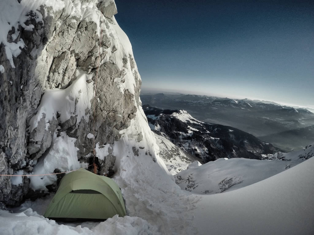 The bivy on the Wetterbock. [Photo] Fabian Buhl
