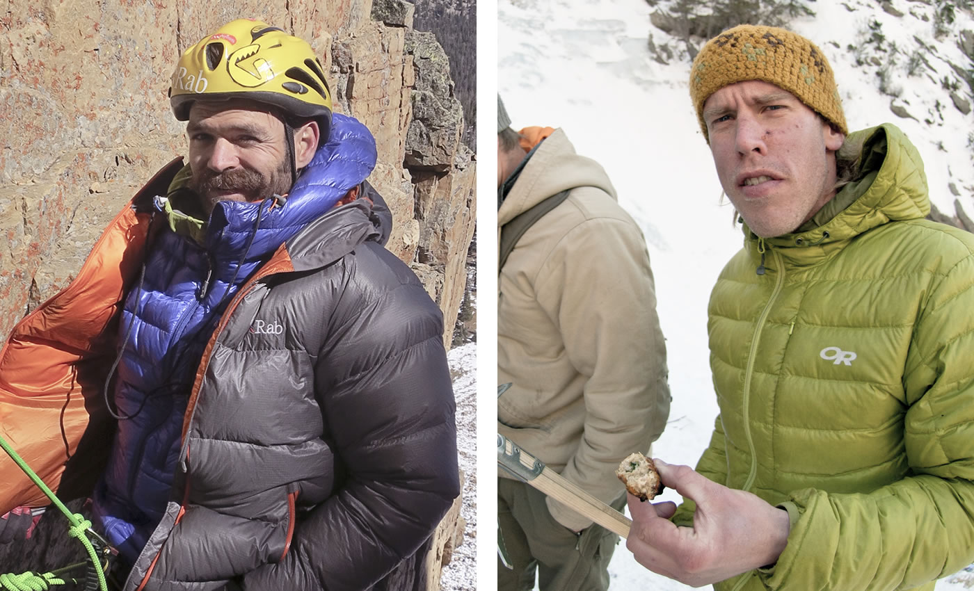 Left: Scott Adamson at the base of pitch 3 during the first ascent of The One Who Knocks WI6 M5 R/X, Reid's Peak, Uintas, Utah.  Right: Kyle Dempster at the Superbowl Sunday BBQ at the top of Pitch 2 on the Great White Icicle, Little Cottonwood Canyon, Utah. [Photos] Nathan Smith