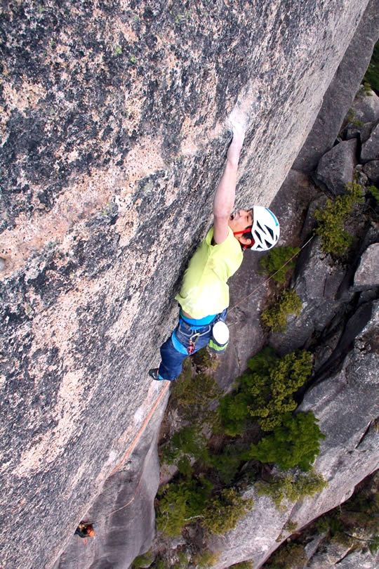 The deadpoint move on Pitch 3. [Photo] Satoru Hagiwara