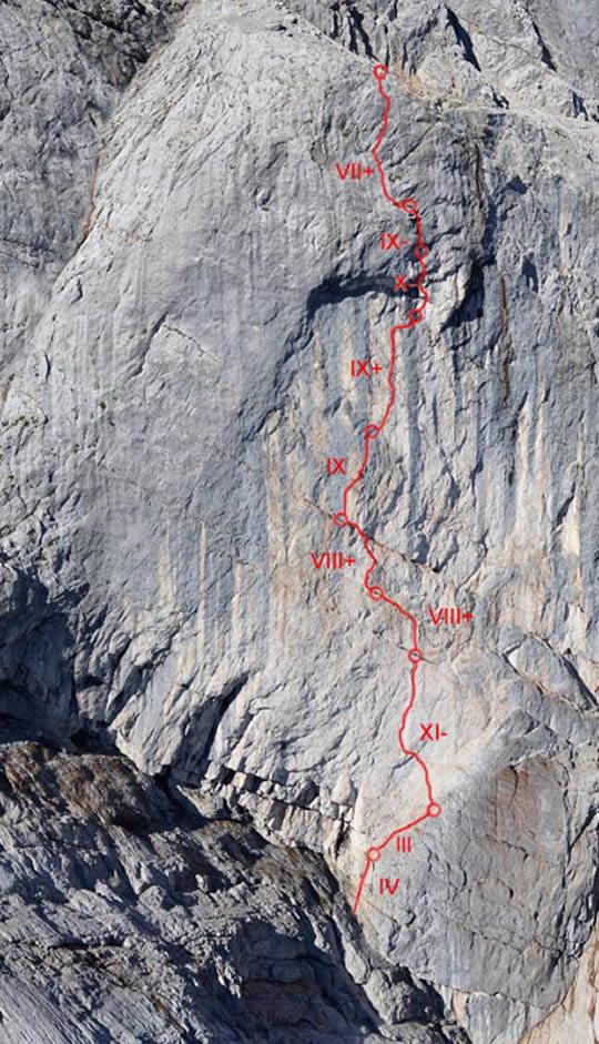 The ten-pitch Wetterbockwand (5.14b, 350m). [Photo] Fabian Buhl