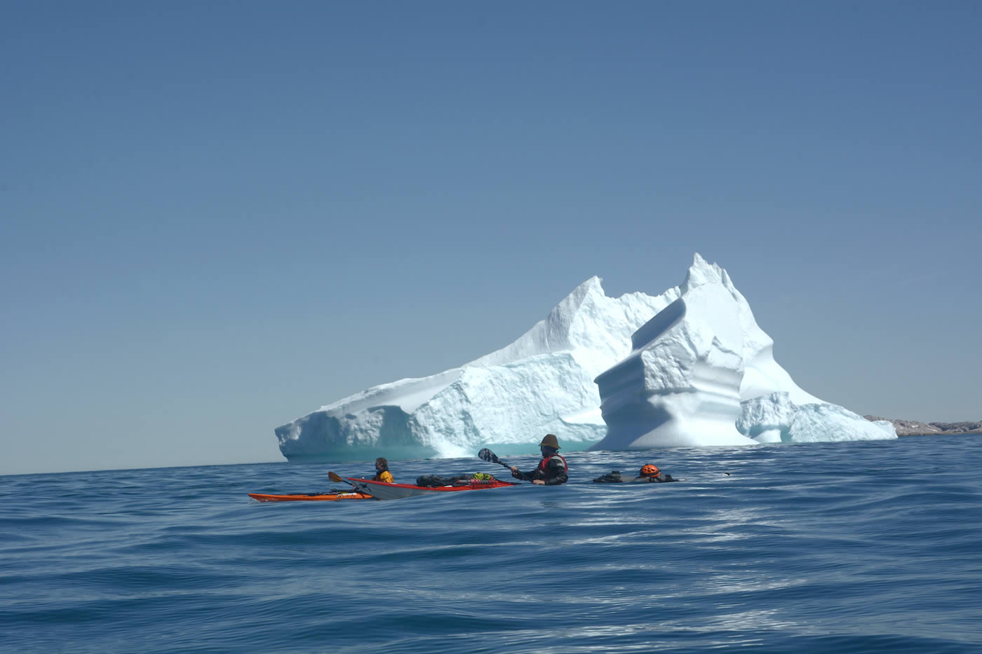 Antoine Moineville and Christian Laddy Ledergerber paddle in the North Atlantic Ocean. [Photo] Silvan Schuepbach