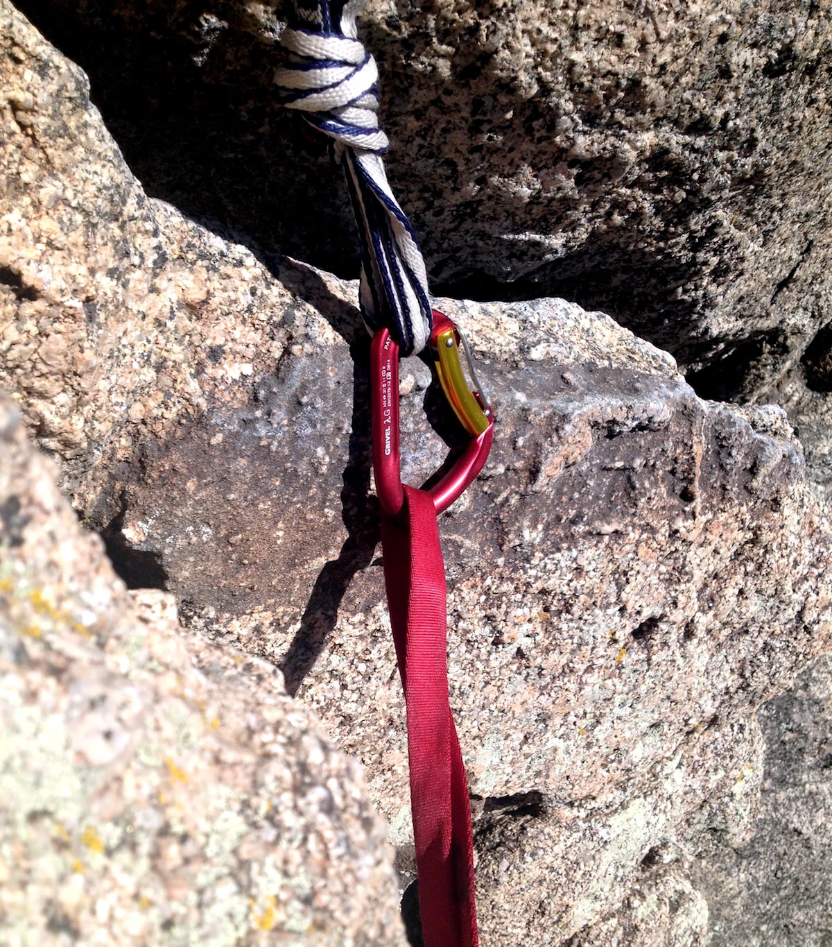 The auto-locking Lambda also worked well in situations where the climber had to clip into an anchor with one hand, which can be difficult with other auto-locking carabiners. [Photo] Alexander Kenan