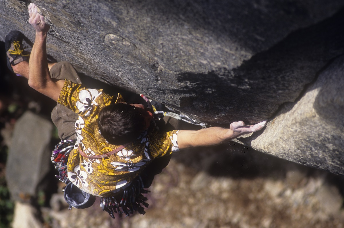 Andrew Boyd climbs Flight of the Challenger (5.12c) in Squamish, British Columbia, circa mid-1990s. [Photo] Rich Wheater
