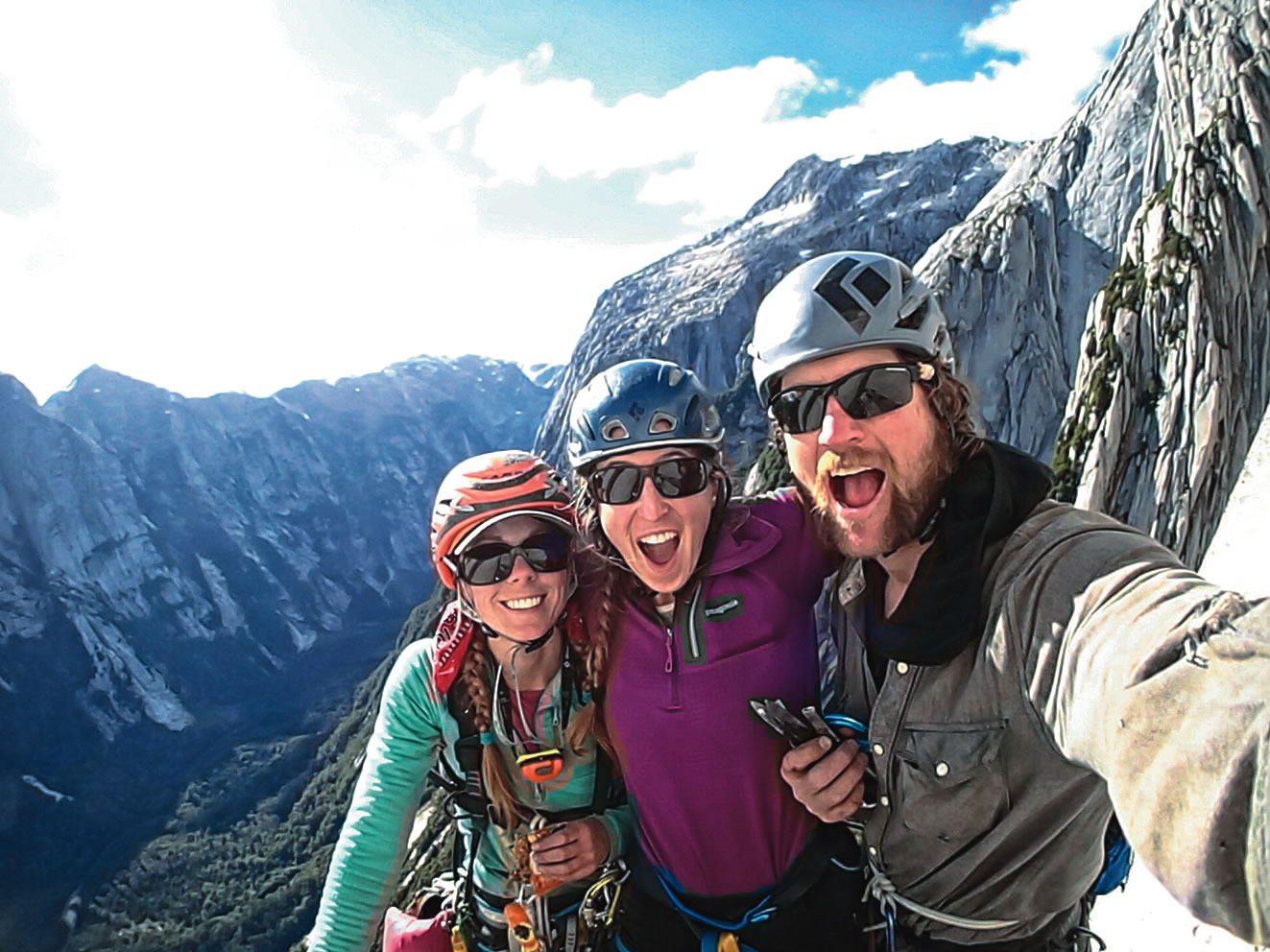 From left to right: Sauter, Althea Rogers and Niels Tietze near the top of El Hermano, named by the late Michael Ybarra. The team made the first ascent in honor of Ybarra and Gil Weis, who had dreamed of the route. [Photo] Niels Tietze