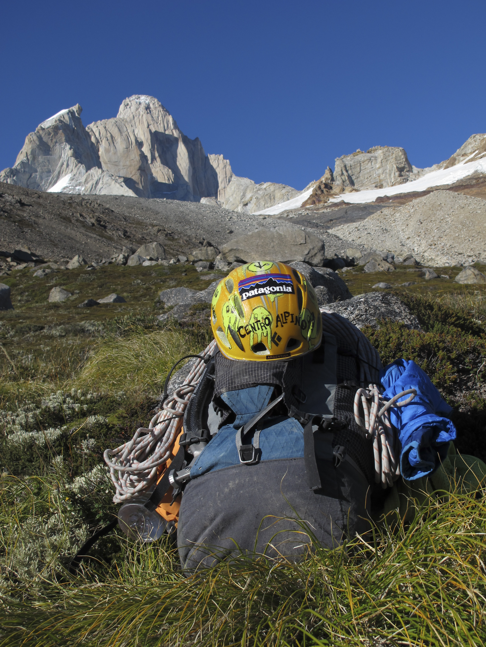 The author said that the CiloGear 30:30 backpack is basically an improved version of the CiloGear 45-liter pack pictured here in Patagonia in 2012, loaded with enough gear to go alpine style on Mate, Porro y Todo lo Demas (6c [5.11b], 900m) on the North Pillar of Fitz Roy (3375m), which looms in the background. Huckaby writes, Troutman aka 'Coleman Blakeslee' and myself climbed up the North Pillar to the summit and descended down the Franco-Argentine route on the other side of Fitz. [Photo] Josh Huckaby