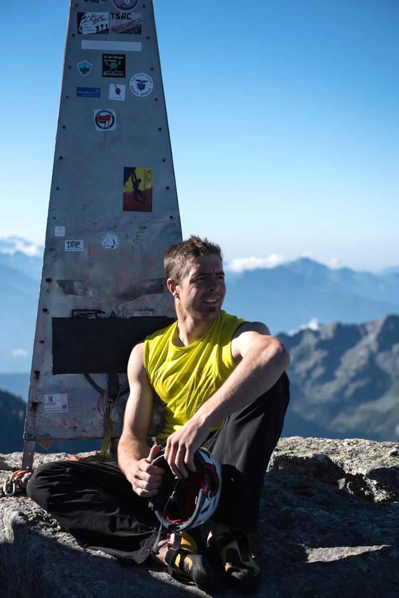 Arnold on top of Switzerland's Piz Badile (3308m). [Photo] Dani Arnold collection