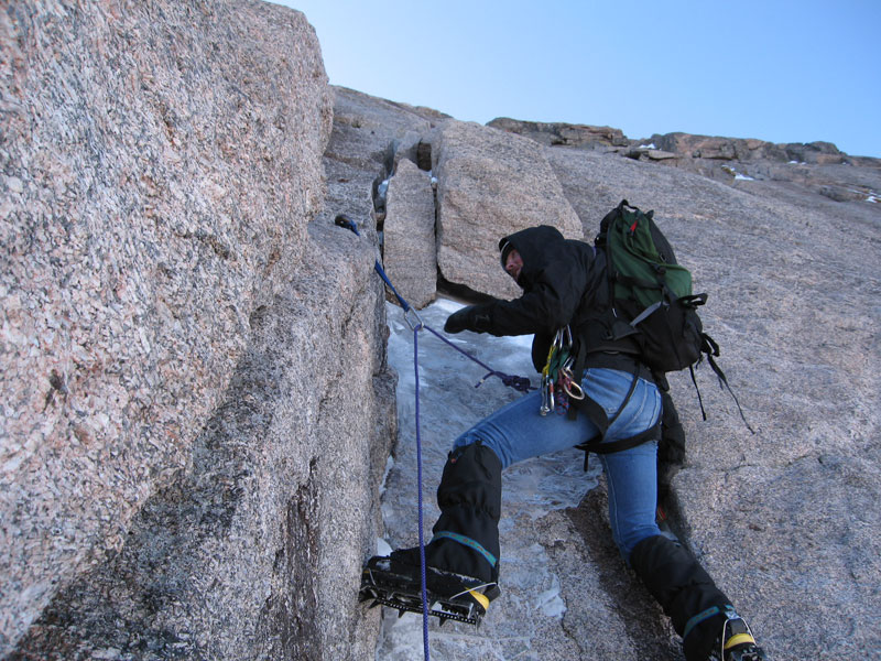 Jim Detterline leads the technical crux of the North Face (II M2) of Longs Peak in early November 2006. [Photo] Lisa Foster