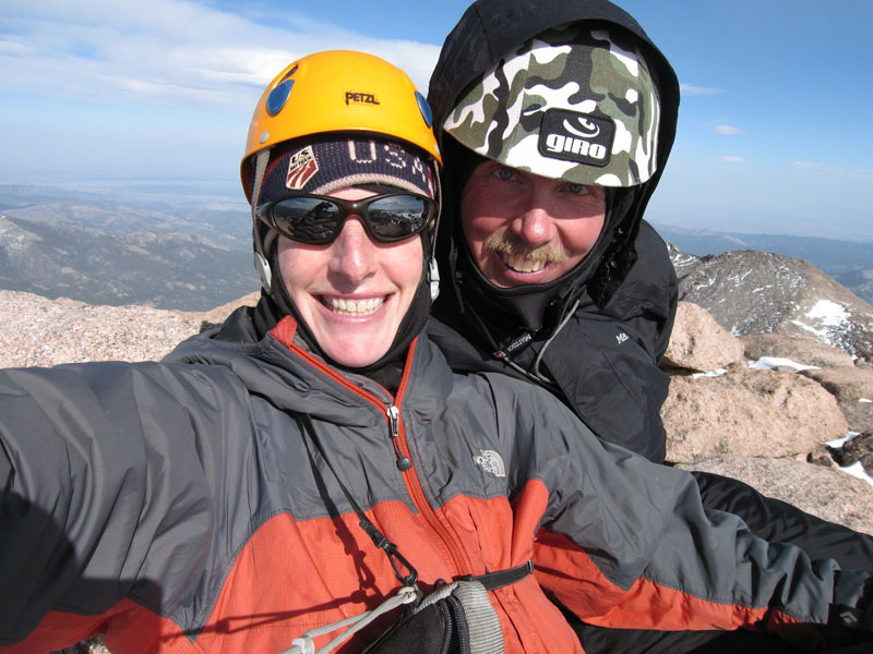 Lisa Foster and Jim Detterline on the summit of Longs Peak, April 2007, after summiting the North Face. [Photo] Lisa Foster
