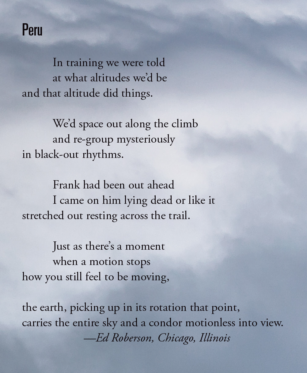 This poem first appeared in Alpinist 58 (Summer 2017).