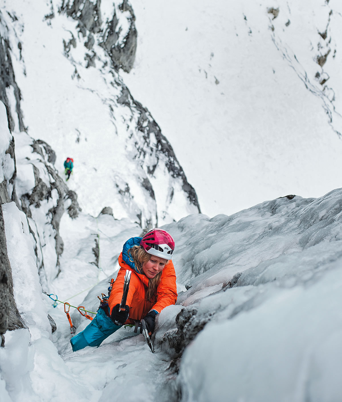 Jen Olson on French Roast (WI5 M6, 180m), Stanley Headwall, Canadian Rockies. [Photo] Mike Maili