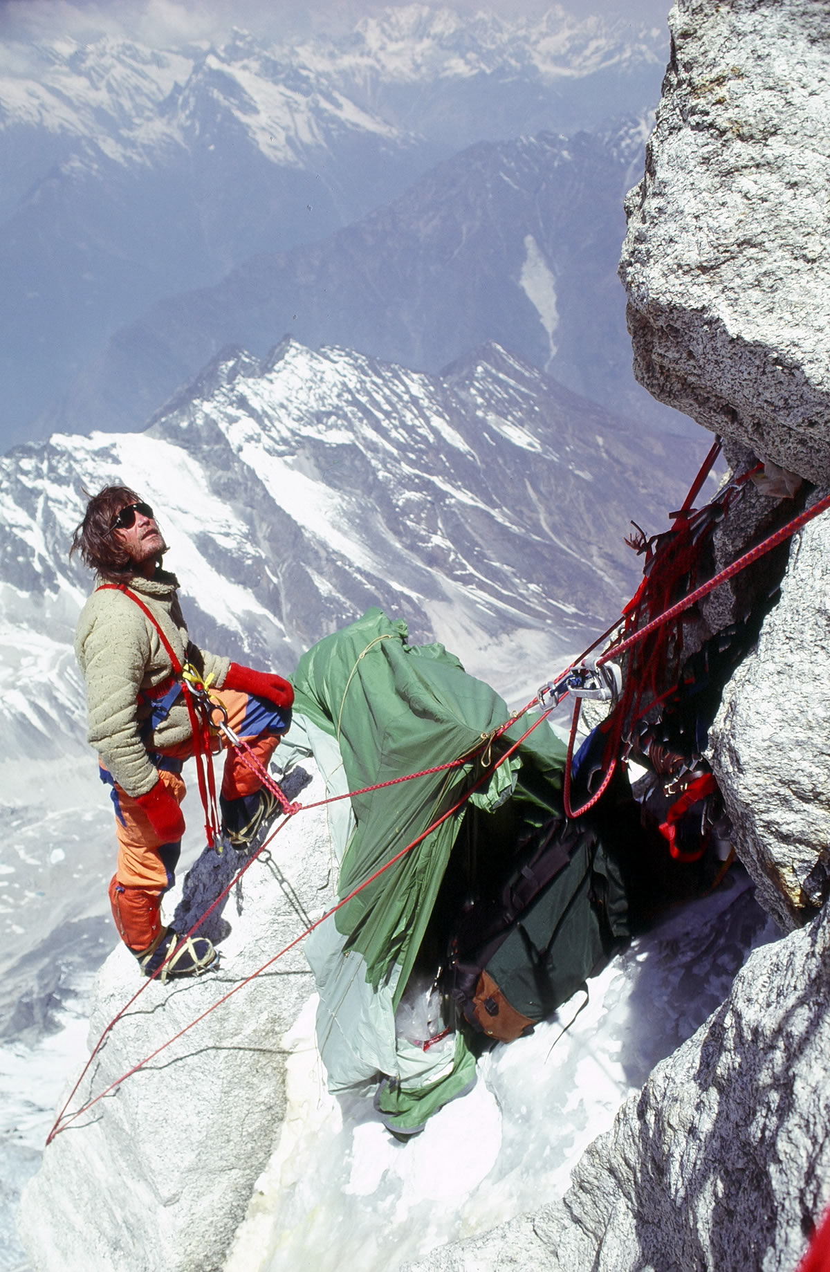 Kim Schmitz at the high camp on the first ascent of Gaurishankar (7181m), Nepal, 1979. [Photo] John Roskelley