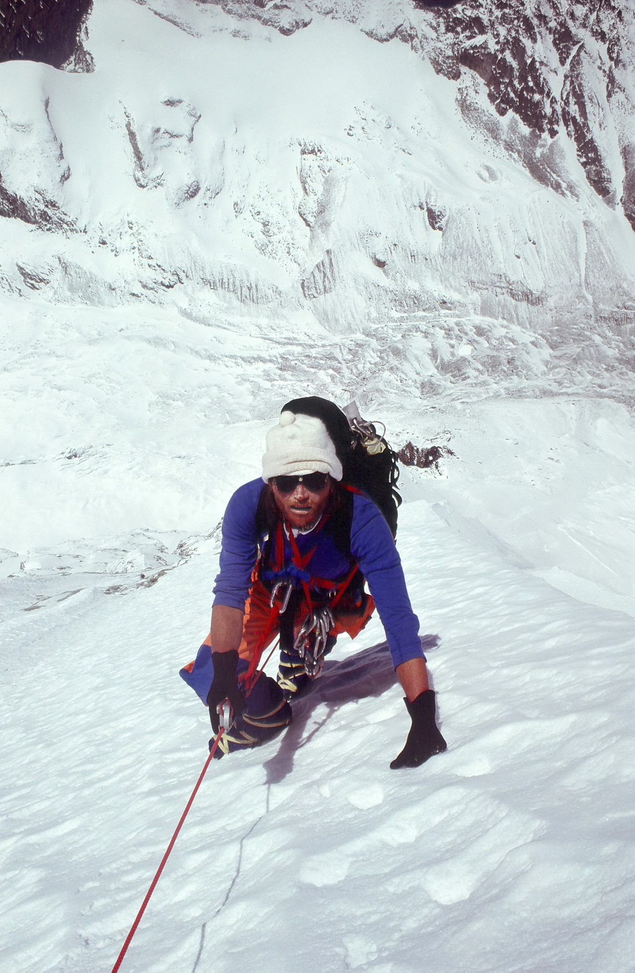 Kim Schmitz on the west face of Gaurishankar, Nepal, 1979. [Photo] John Roskelley