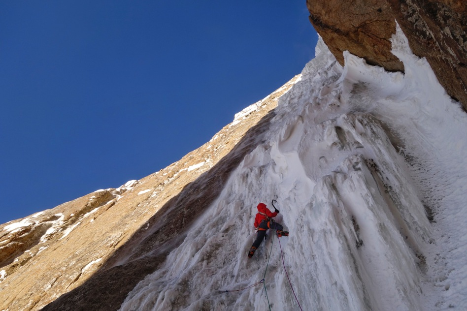 Lindic leads a pitch on the top half of the route. [Photo] Ines Papert