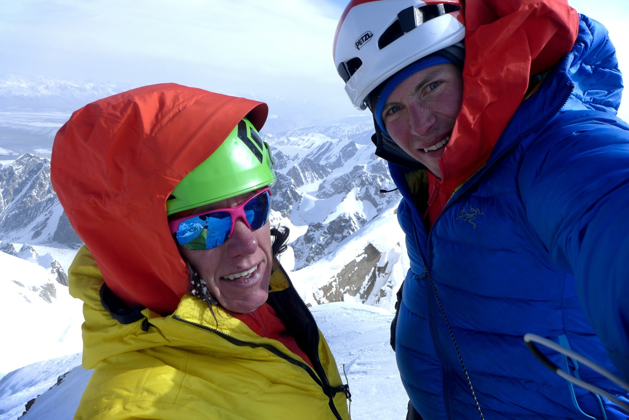 Papert, left, and Lindic pose on top of Kyzyl Asker (5842m) in China after the first ascent of Lost in China (ED WI5+ M6, 1200m), October 1. [Photo] Ines Papert and Luka Lindic