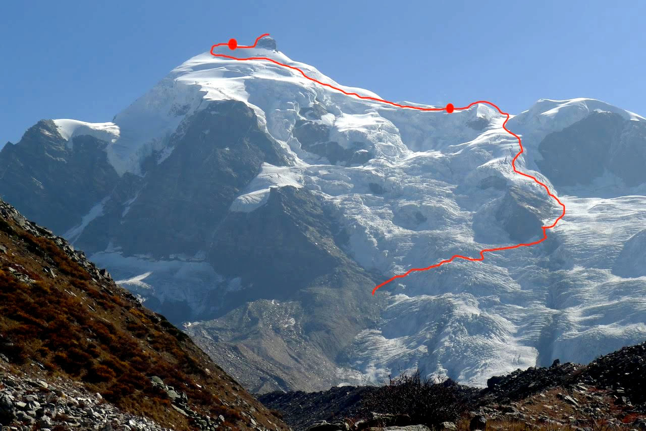 This photo shows the descent route.