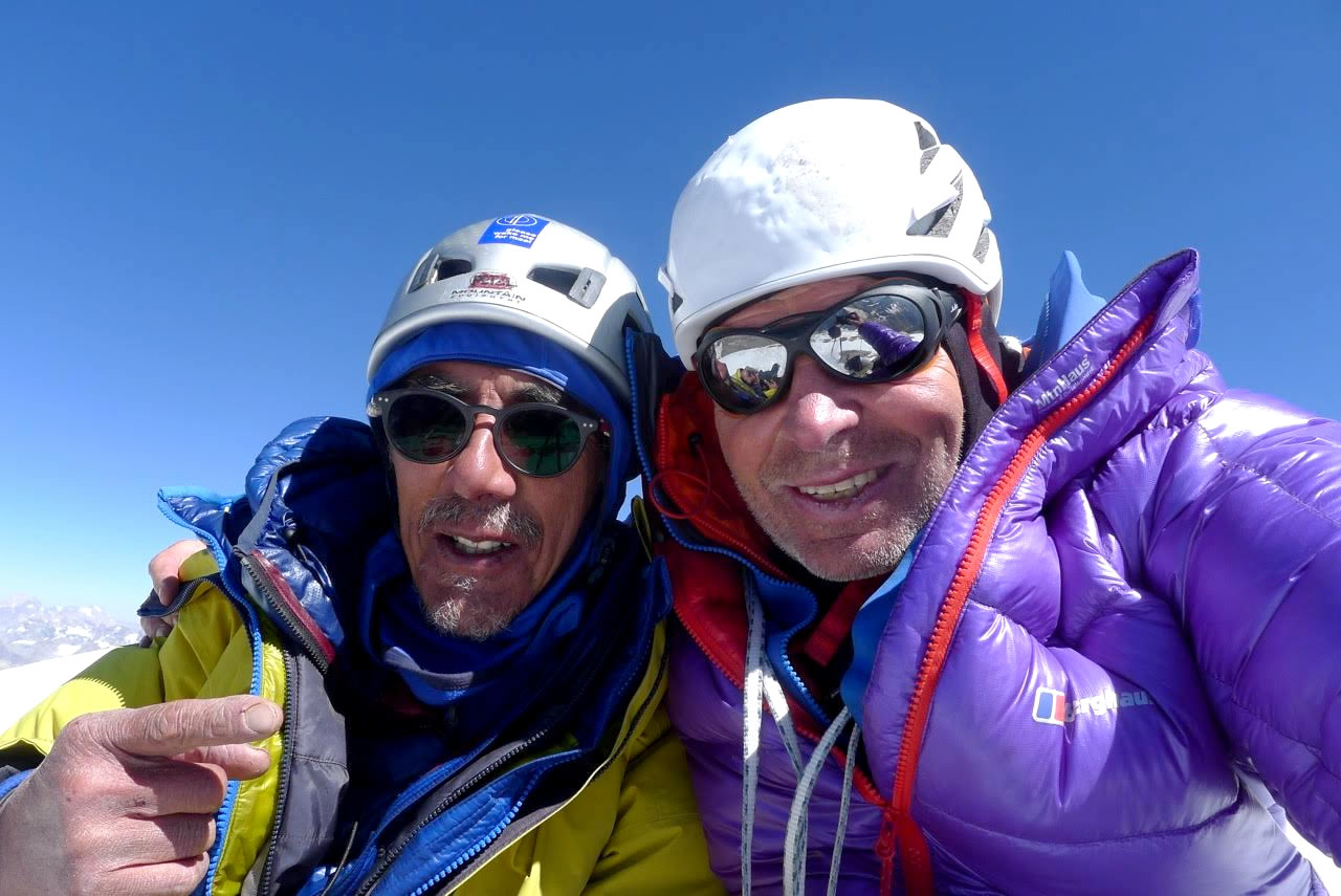 Victor Saunders, left, and Mick Fowler enjoy another summit together after 29 years apart. [Photo] Mick Fowler