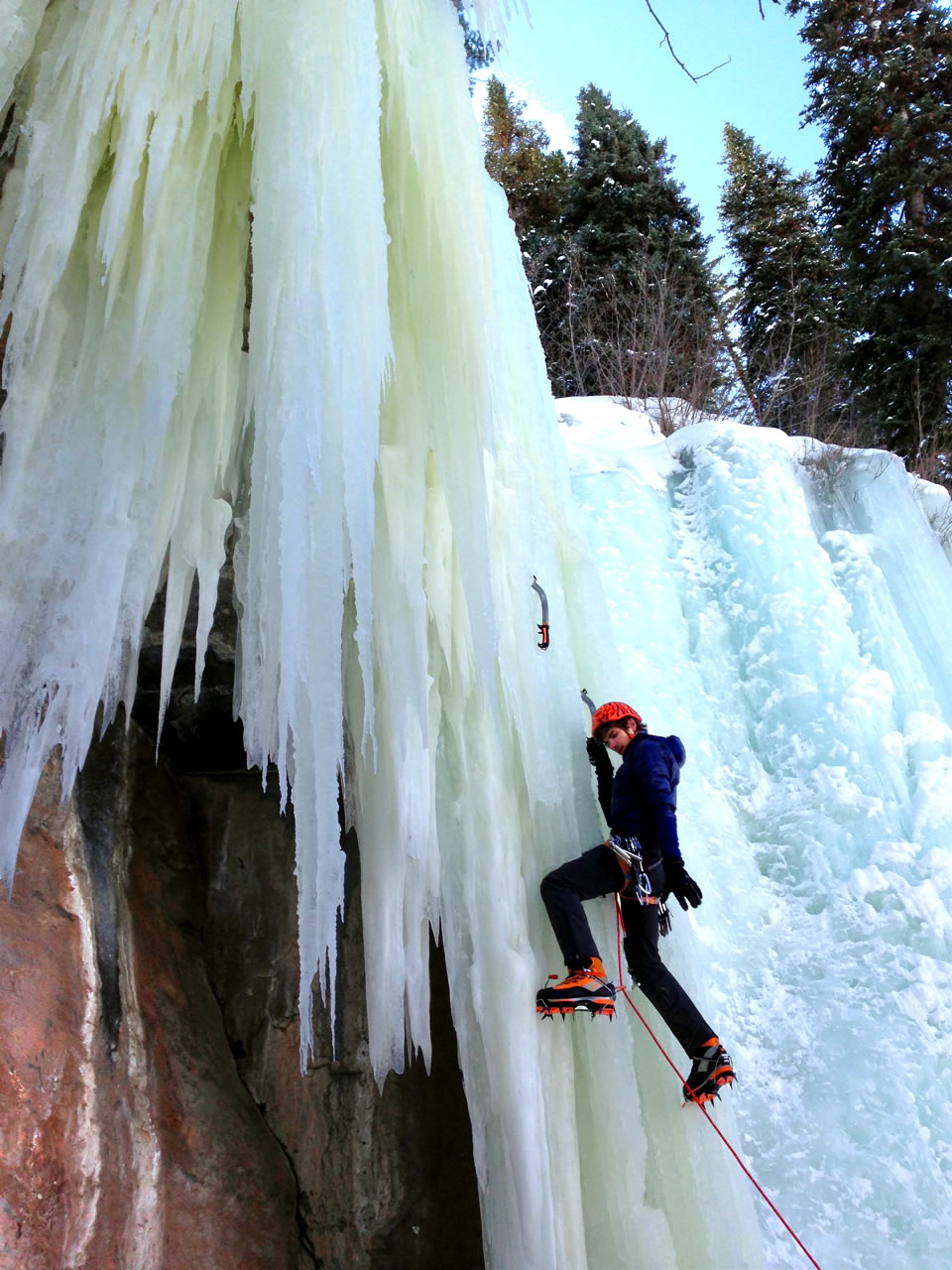 The Hi Q Luxe Pro Pull On's durable water-resistant coating and super durable fabric meant it was tough enough to climb both rock and ice in a variety of conditions. Here, Alexander Kenan takes it for a test spin on this ice curtain to the left of Spiral Staircase (WI4) in Vail, Colorado. [Photo] Travis Fried