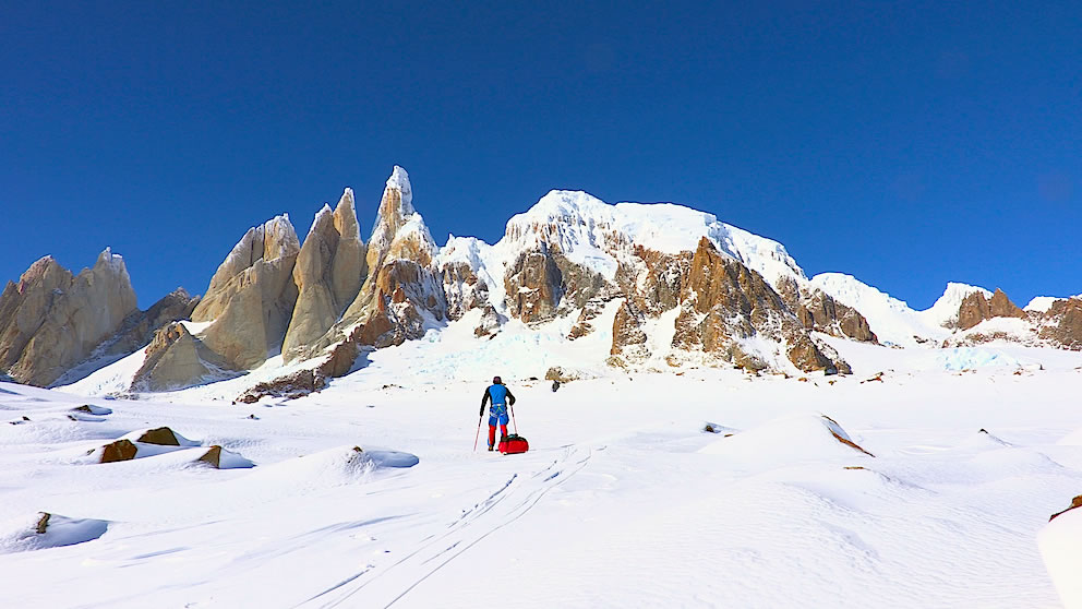 Markus Pucher approaches Cerro Torre on a solo winter attempt. [Photo] Markus Pucher