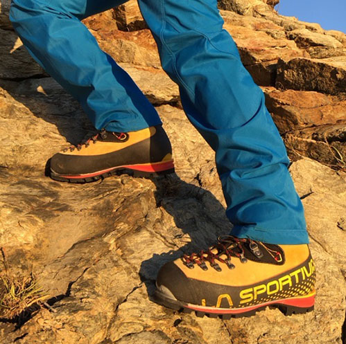 The Nepal Cubes worked well as an all-day boot in the mountains, transitioning smoothly between rock and snow. [Photo] Andrew Councell