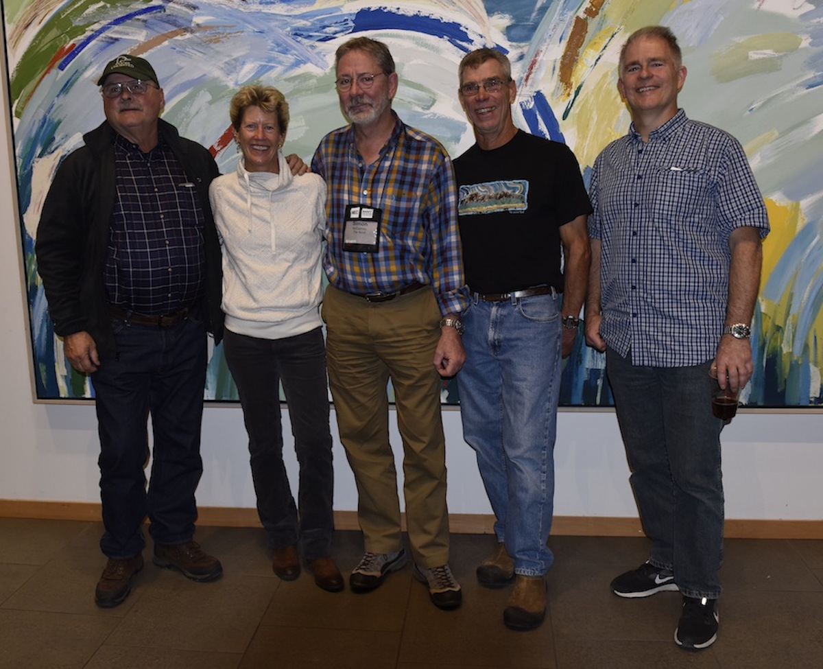 The reunion at Banff. From left to right, Mike Helms, Pam Roberts, Simon McCartney, Bob Kandiko, Mike Pantelich. [Photo] Courtesy of Simon McCartney