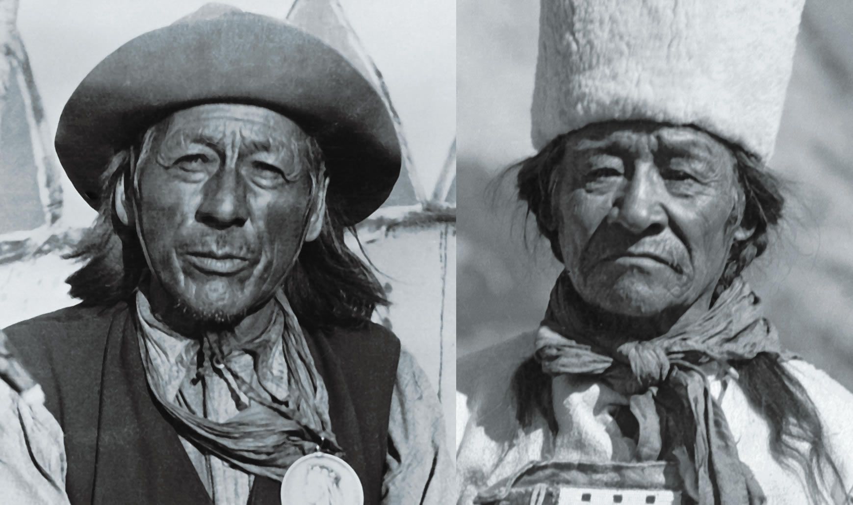 Tom Chiniquay (left). William Twin (right). Employed by the CPR at Lake Louise in 1894, the two Nakoda men spent the summer building trails and guiding tourists. They are rarely celebrated for what was likely the Canadian Rockies' first recorded mountain rescue—using an improvised litter. [Photos] Glenbow Archives