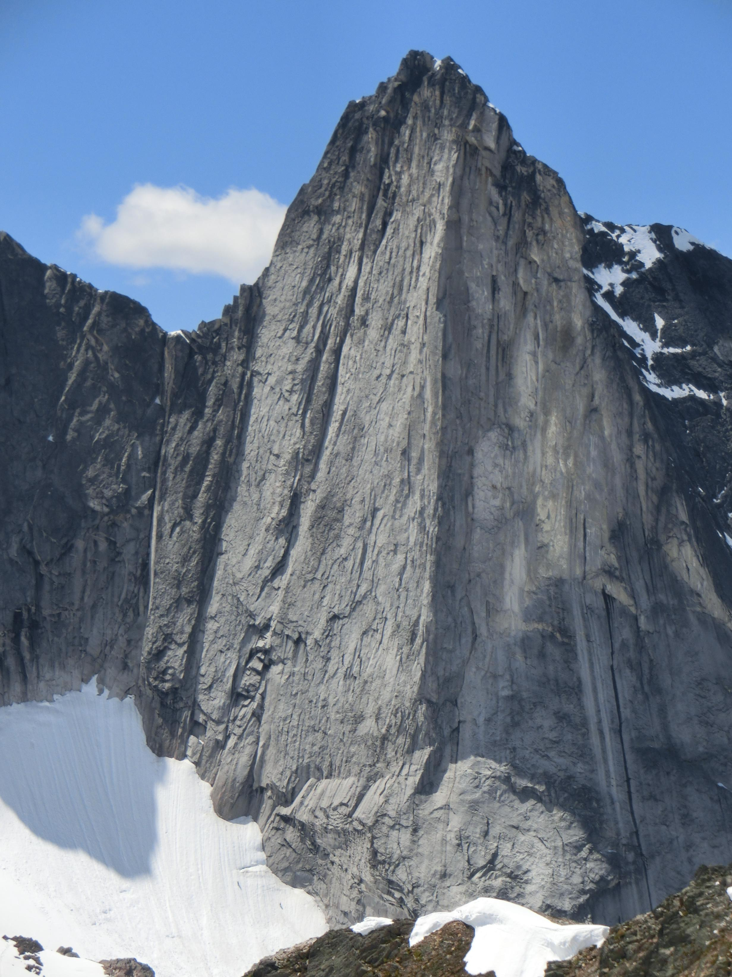 Wall Tower as viewed from the north shoulder of Hall Peak. The group climbed a line just left of the prominent arete in the center of the frame. [Photo] Kale Semar