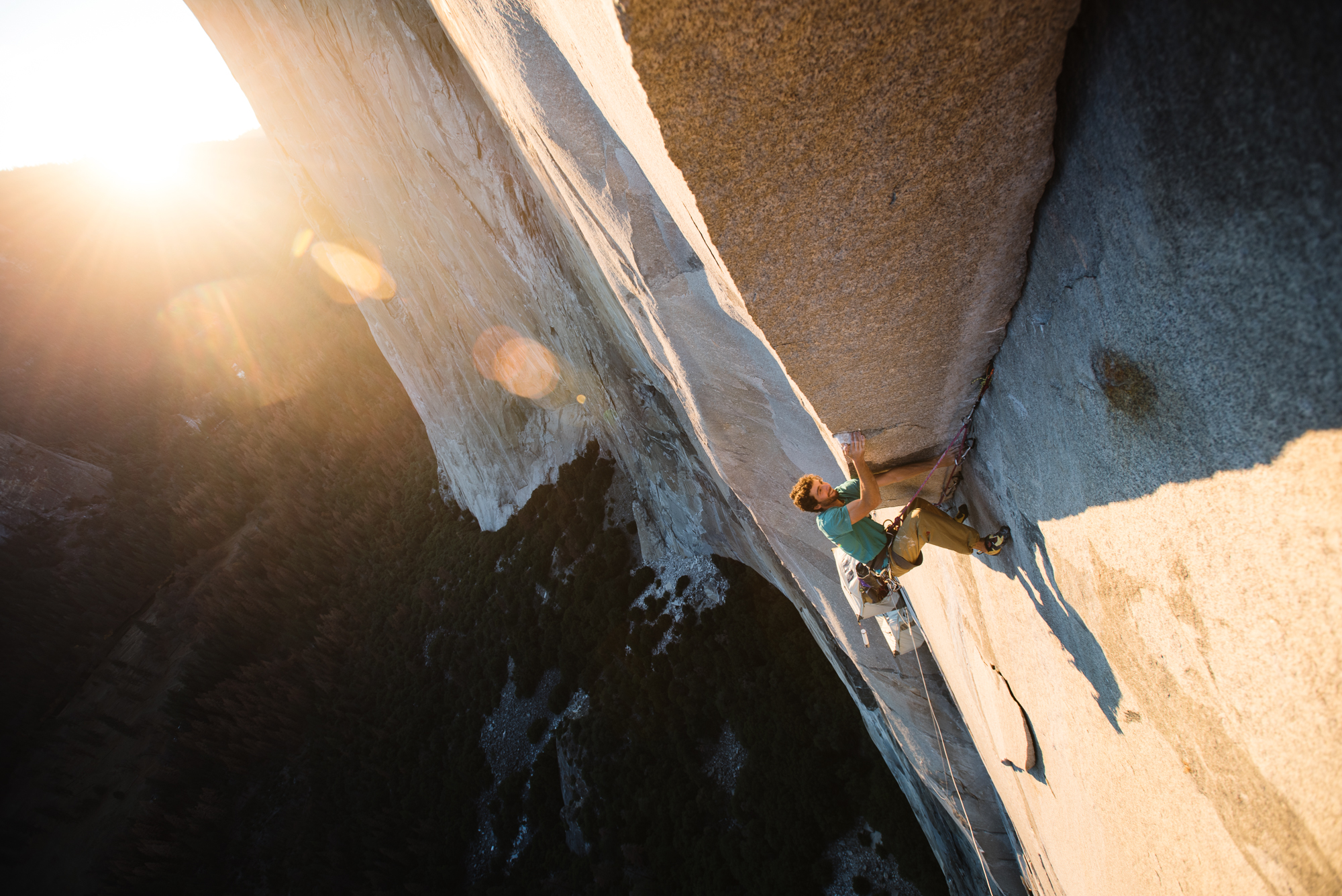Jacopo Larcher climbs The Nipple pitch (5.13d) on Zodiac (VI 5.13d) at sunset. [Photo] Francois Lebeau and Black Diamond Equipment