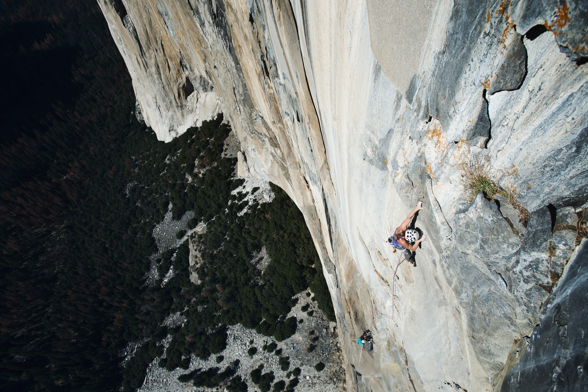 Barbara Zangerl leads The Devil's Brow pitch (5.13a) near the top of Zodiac (VI 5.13d), El Capitan. [Photo] Francois Lebeau and Black Diamond Equipment