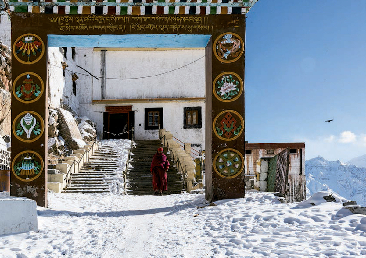 Entrance to the Ki Gompa in Spiti Valley. Historian O.C. Handa notes that the complex contains rooms huddled together precariously and narrow trench-like passages that connect winding  flights of steep steps. [Photo] Karn Kowshik