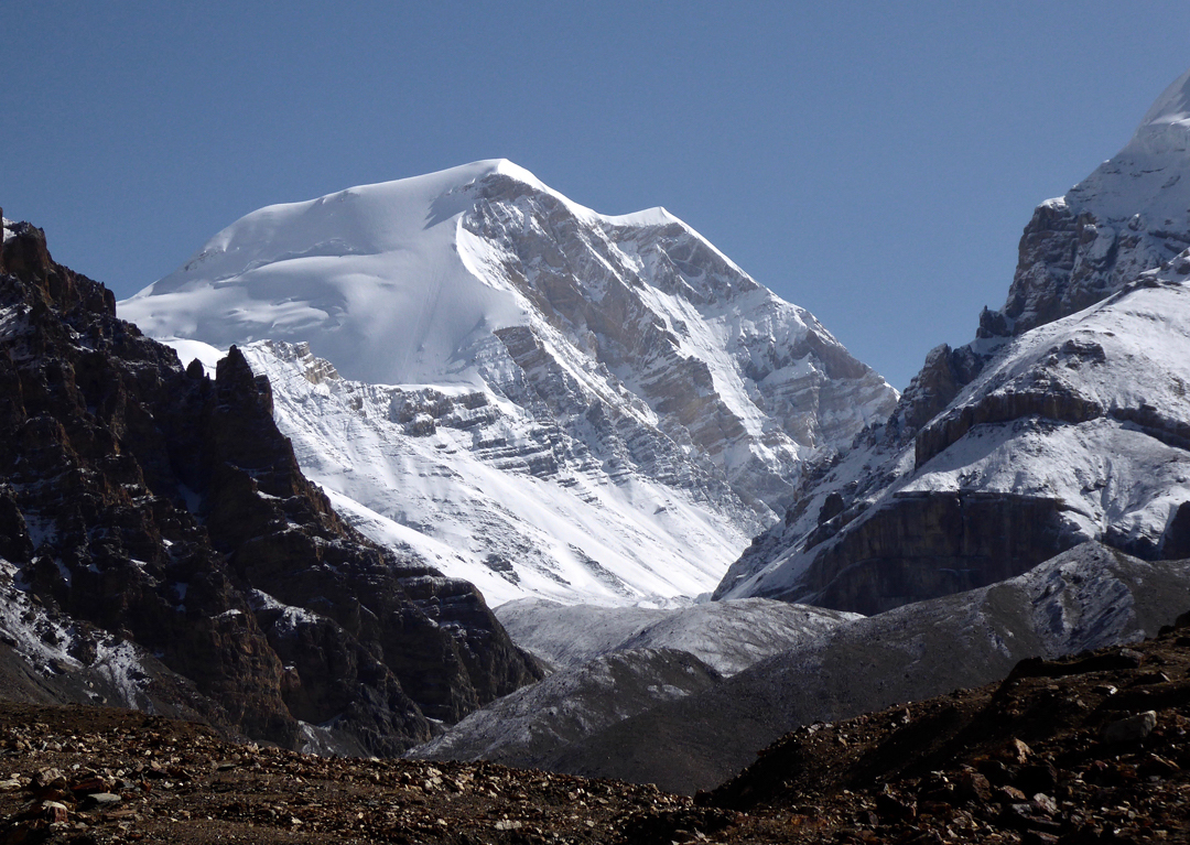 Khumjungar Himal (a.k.a. Khamjung, 6759m), one of the highest peaks of the Damodar, seen to the north from the approach up the Labse Khola towards the Teri La. This south-facing aspect of the mountain has not been attempted. [Photo] Paulo Grobel