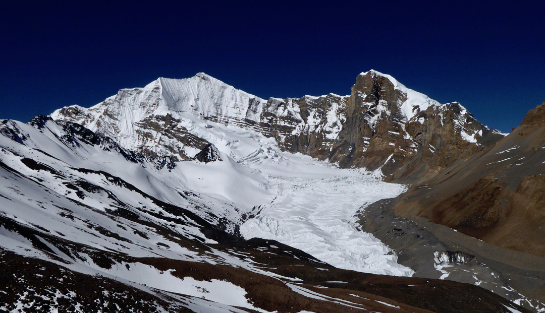 Unclimbed Purbung Himal, seen from the north-northeast after crossing the Teri La.  [Photo] Paulo Grobel