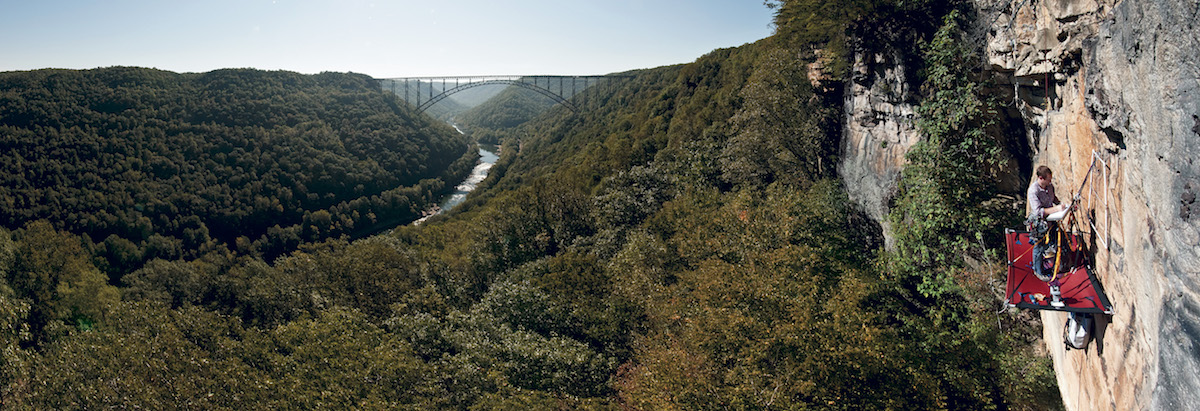 Peter Clark conducts research at the New River Gorge. [Photo] Gabe Dewitt