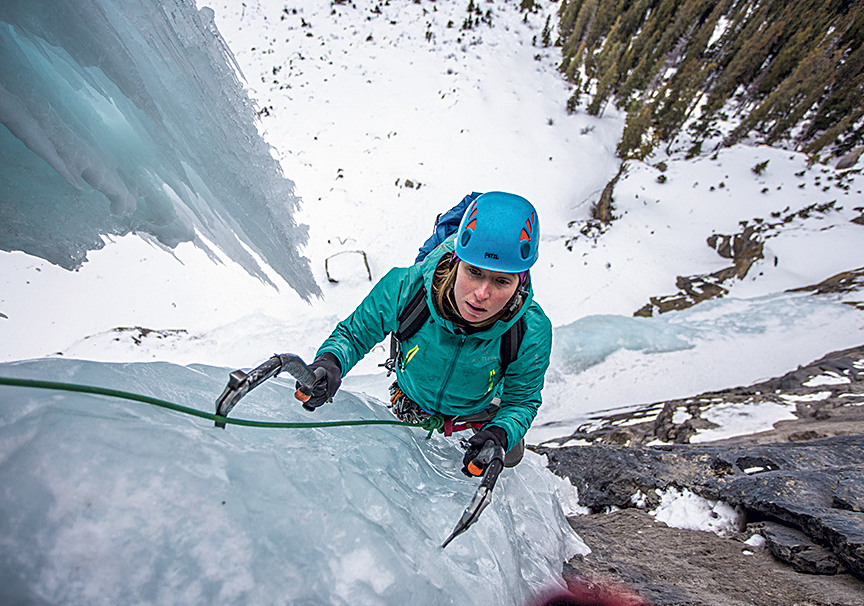Smith seconds Cyber Pasty Memorial (WI5+ M7+), Icefields Parkway. The photographer recalls, [Smith] took a bit of ice to the lip, but was still smiling all day. [Photo] John Price