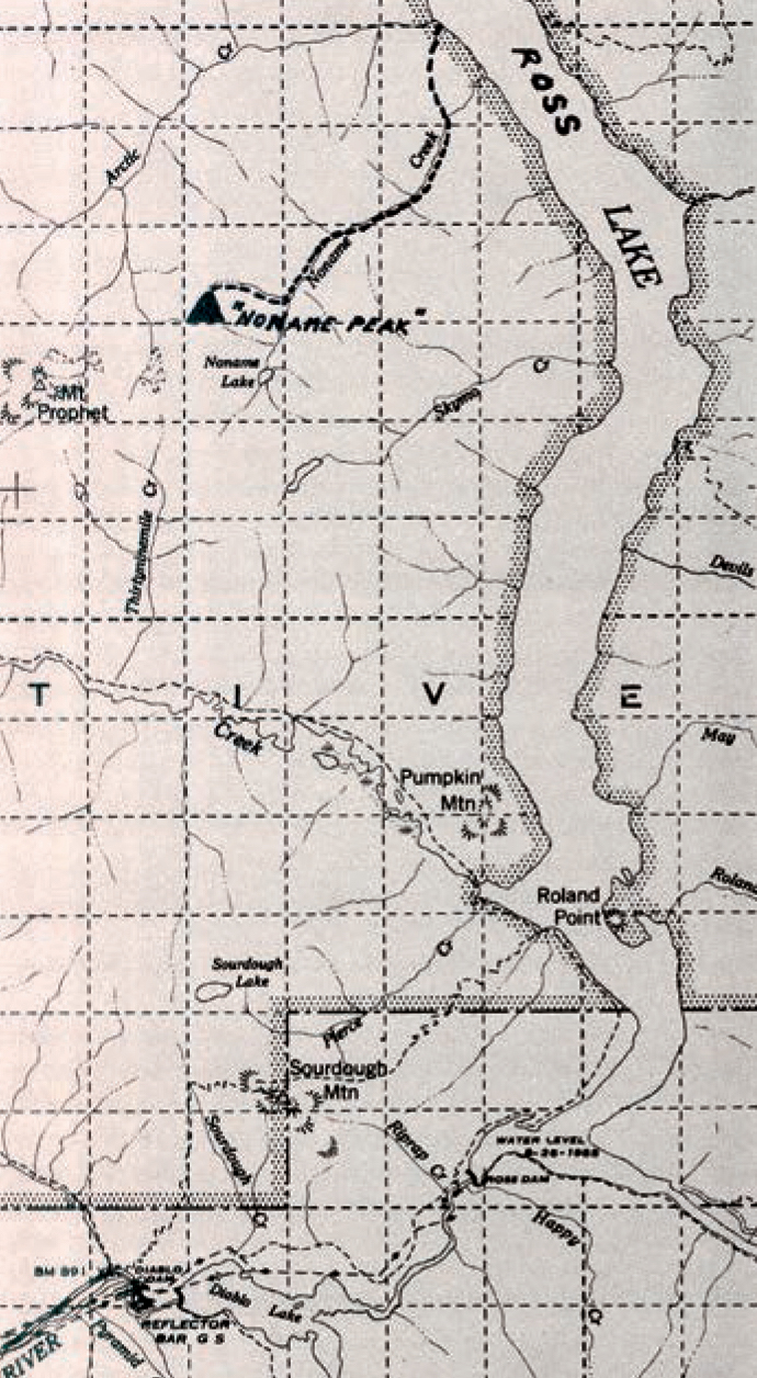 The altered map from the May 1960 Summit article, An Unclimbed No Name Peak, showing the imaginary location of the mountain. As Ronald Peattie pointed out in Mountain Geography, surprisingly few people agree what a real mountain is, how high and steep it must be for that term: To a large extent, a mountain is a mountain because of the role it plays in popular imagination. [Image] Courtesy of the American Alpine Club