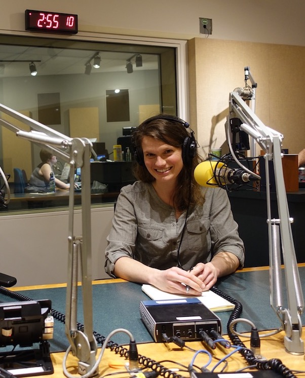 Alpinist Associate Editor and Podcast Host Paula Wright record in the sound booth. [Photo] Alpinist staff